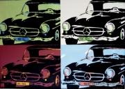 tableau sport mercedes cabriolet 190 sl automobile hommage : HOMMAGE A ANDY WARHOL